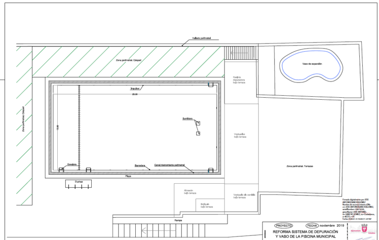 Plano previa reforma piscina